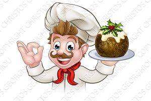 Chef Holding Christmas Pudding
