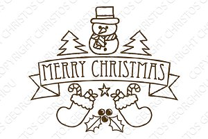 Merry Christmas Greetings Festive Design