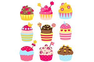 Princess cupcakes icons