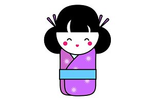 Japanese koksehi doll icon