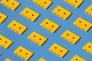 Retro audio tape tapes lie on a blue background, isometric projection, flat design