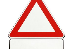 blank generic caution sign isolated over white