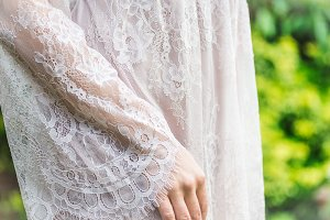 Girl in White Lace Dress
