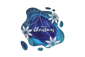 Blue Merry Christmas Greetings card. Snowfall. Paper cut snow flake. Happy New Year invitation. Winter snowflakes Garland. Text. Layered tonnel wave background. Shadows box. Vector