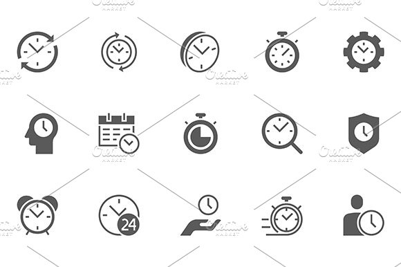 Set Of Time Management Vector Icons 48x48 Pixel Perfect