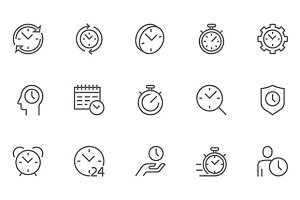 Time Management Line Icons