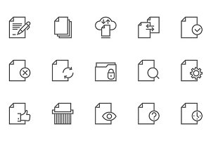 Document Flow Management Line Icons