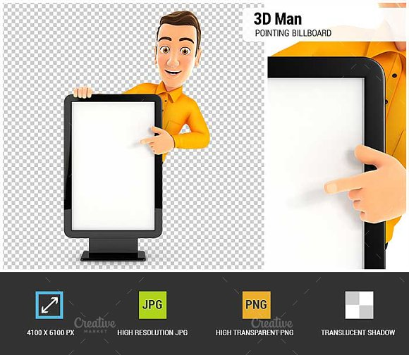 3D Man Pointing To Blank Billboard