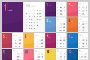 Calendar 2018 year colored squares