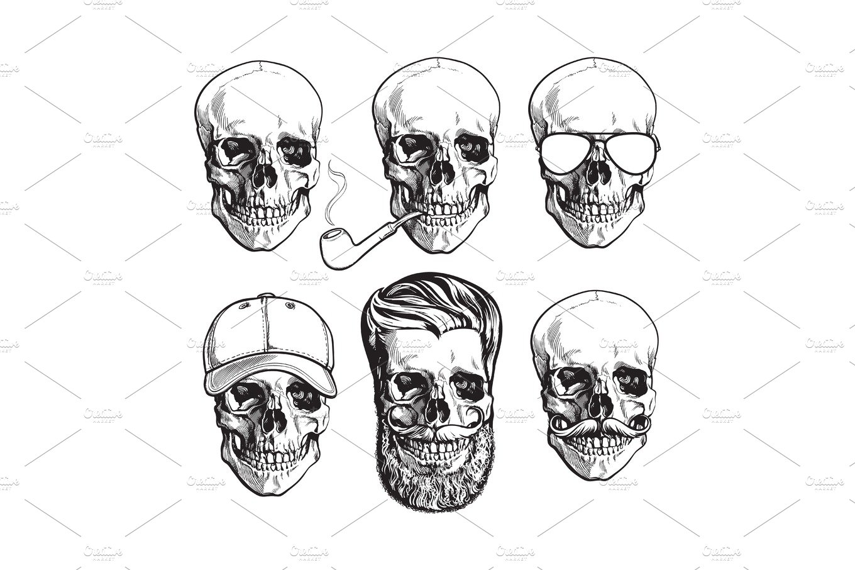 Human skull bones with sunglasses, beard, moustache