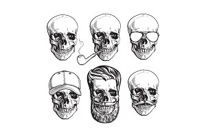 Human skull bones with sunglasses, beard, moustache, smoking pipe