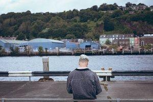 Rear view of man on promenade