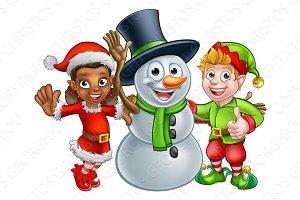 Christmas Elf Santas Helpers and Snowman