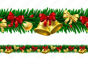 Christmas Tree Baubles Wreath Design Border