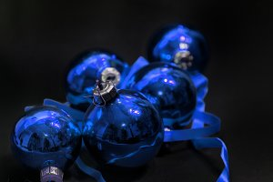 Blue baubles on black