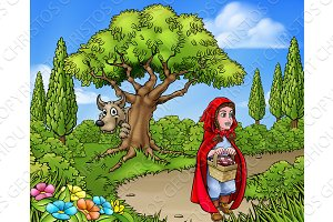 Little Red Riding Hood Cartoon Scene