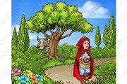 Little Red Riding Hood Cartoon Scene