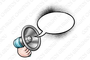 Cartoon Megaphone Speech Bubble