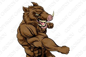 Boar sports mascot fighting