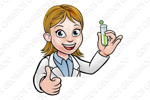 Cartoon Scientist Holding Test Tube Sign