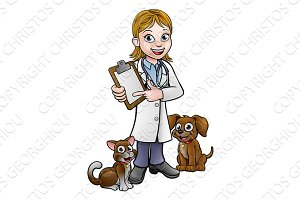 Vet Cartoon Character Holding Clipboard