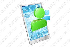 Social media icon phone app concept