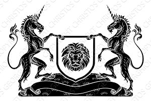 Coat of Arms Emblem Crest Unicorn Shield Heraldic