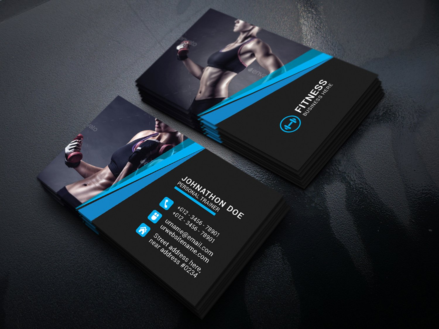 Fitness business cards unlimitedgamers fitness business card business card templates creative market wajeb Image collections