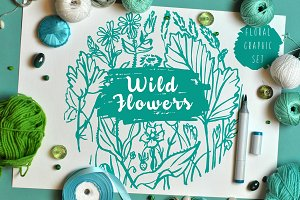 Wild flowers - Marker Graphic Set