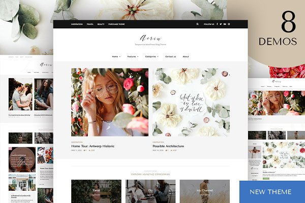 WordPress Blog Themes - Aerin - WordPress Blog & Shop Theme
