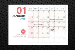 Calendar 2018 Planner Design