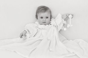 Sweet Baby Girl in White Cotton 3