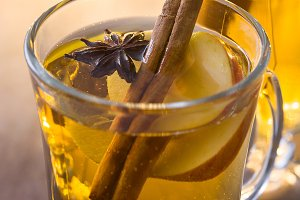 Mulled cider in glass