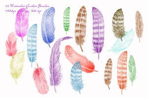 Watercolor Photoshop Brush Feathers