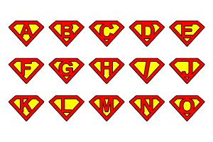 Super alphabet letters - rounded