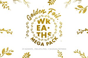 Golden Foil Wreaths Mega Pack
