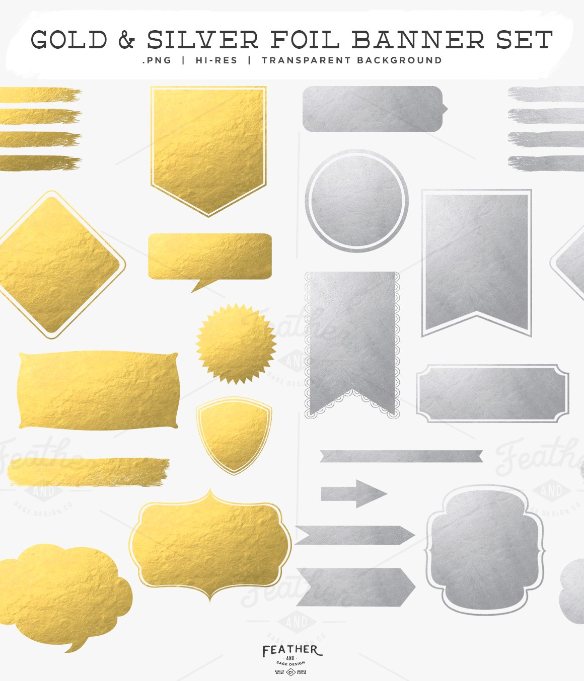 Gold Silver Foil Banner Set Objects Creative Market