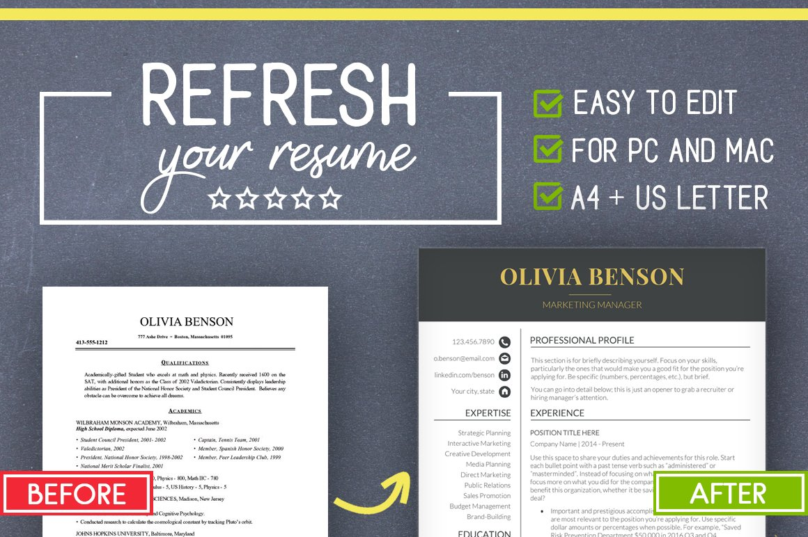 Clean Resume Template Word Mac Pc Resume Templates Creative Market