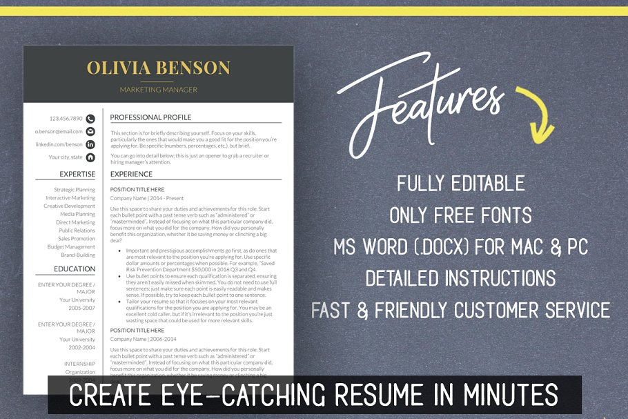 Resume Template for MS Word (Mac/PC) ~ Resume Templates ~ Creative