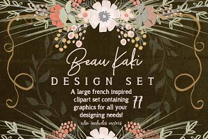 Beau Kaki French Floral Graphic Set