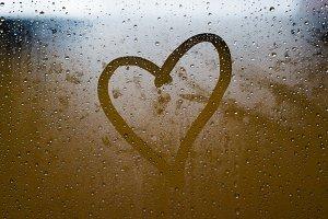Heart painted on crystal window