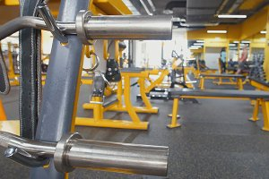 Interior Of Modern Fitness Gym - yellow color
