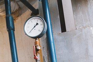 Old vintage soviet manometr of air compressor - measure air pressure