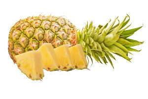 One pineapple fruit with slices
