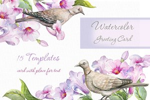 Flower and bird Clipart. Watercolor