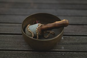 Prayer beads in mortar and pestle