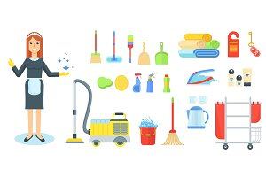 maid with cleaning supplies