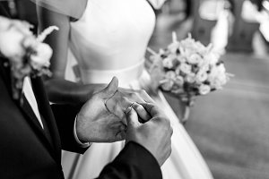 Bride and groom wearing rings
