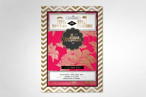 flower/chevron wedding invitation