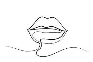 Beautiful Woman's lips logo